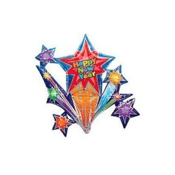 "Happy New Year 37"" Star Connect Mylar Balloon"