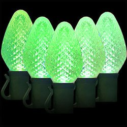 GKI Bethlehem Lighting 35-Light Pearlized C5 LED Light Set, Green Bulbs, Green Wire