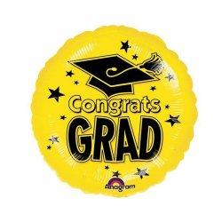 "Congratulations Graduate Yellow 18"" Foil Balloon"