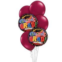 Graduation Balloon Bouquet - Burgundy