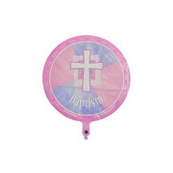 "Pink Religious and Joyous Baptism Balloons - 6 Pack of 18"" Mylar Balloons"