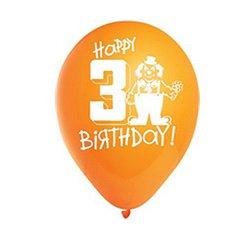 Happy 3rd Birthday Assorted Pastel Balloons - 6pk