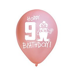 "Happy 9th Birthday Assorted 12""in. Pastel Balloons - 6pk"