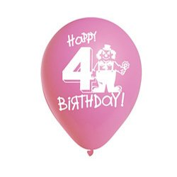 "Happy 4th Birthday Assorted 12"" Pastel Balloons - 6pk"