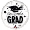 "Congrats Grad White 18""in. Mylar Balloon"