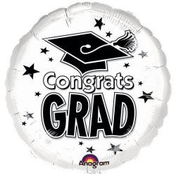 "Congrats Grad White 18""in. Mylar Balloon"