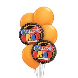 Graduation Balloon Bouquet - Orange