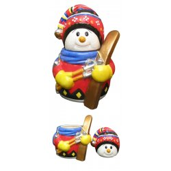 Colorful Snowman Skier Ceramic Cookie Jar