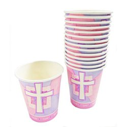 Religious and Joyous Cross Cups - 18cnt. Pink Paper Cups
