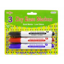 Assorted Color Dry Erase Markers - 3 Pack