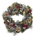 "Frosted Christmas Wreath - 12"" Holiday Decoration"