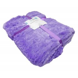 Faux Fur Throw Blanket - Purple
