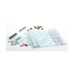 Large Decorative Glass 3-in-1 Game Set: Chess, Checkers, Backgammon