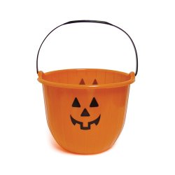 Medium Halloween Pumpkin Bucket - Orange Plastic Candy Pail