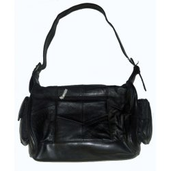 Genuine Leather Black Shoulder Purse
