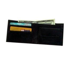 Genuine Leather Black Bi-Fold Wallet