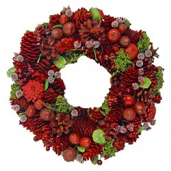 "Decorative Wreath - 12.5"" Holiday Wreath Red"