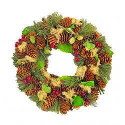 "Decorative Wreath - 12.5"" Holiday Wreath Green"