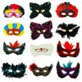 Mardi Gras Feather Masks - 12 pack