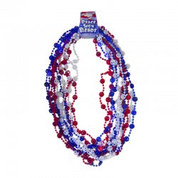 USA Patriotic Red, White and Blue Peace Necklace_12 pack