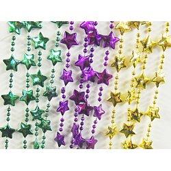 "Star Bead Necklaces, Mardi Gras - 33"" ea. - 1 Dozen"