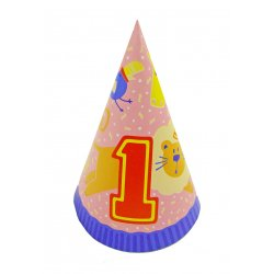 Party Animal 1st Birthday Party Hats - 8 Pack