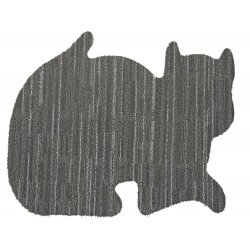 "2 Pet Bowl Mats - Two Pack of 24"" x 19"" Cat Shaped Area Rug"