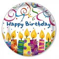 "Party Plates ""Birthday Candles"" (7"") - 8 cnt"