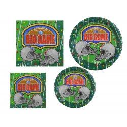 The Big Game Football Party Set - Disposable Serveware for 16 People