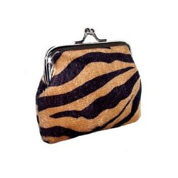 Animal Print Coin Purse with Clutch Clasp - Brown Zebra Design
