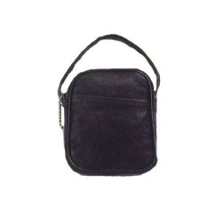 Coin Purse w/ Handle - Black Leather