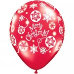 """12 Count - 11"""" Latex Christmas Snowflakes Balloons - Red and Green Colors"""