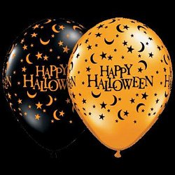 """12   11"""" Latex Halloween Moons and Stars Halloween Balloons Assorted Colors"""
