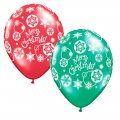 "12 Count - 11"" Latex Christmas Snowflakes Balloons - Red and Green Colors"