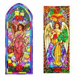 Reusable Stain Glass Window Clings - 2 Pack Angel Theme