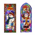Reusable Stain Glass Window Clings - 2 Pack Snowman Theme