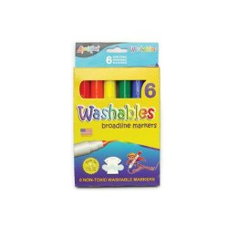Washable Broadline Markers - 6 Assorted Colors