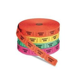Admit One Single Ticket Roll - Assorted colors - 4 Rolls