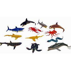 Aquatic Plastic Animals - Pack of 12 Water Creature Figurines