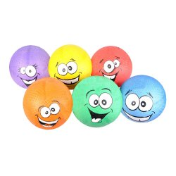 Assorted Smiley Face Playground Balls 6pk