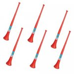 Pack of 6 Vuvuzela - South African Style Collapsible Horn, Red