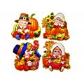 "Window Cling Decorations - ""Pilgrim Kids"" - 4 Piece Set"