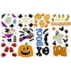 Halloween Window Decorations - 6 Random Sets of Halloween Gel Art