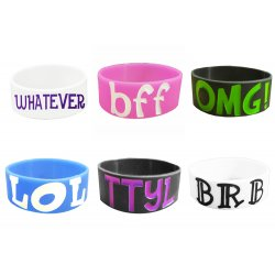 Wide Silicone Wristbands - Texting Bracelets - 6 pack