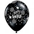 """11"""" Black Round New Years Stars and Swirls Balloons"""